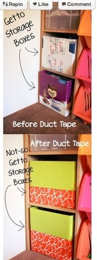 I'm currently taping up some boxes in my baby girls closet. I've been buying the colored duct tape at Michaels and using the online weekly coupon to reduce the cost. Way cheaper than buying decorative storage bins/boxes