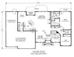 Traditional 3 Beds 2 Baths 1842 Sq/Ft Plan #53-192 Main Floor Plan - Houseplans.com