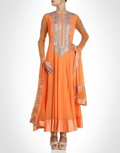 Orange anarkali with silk borders. Shop Now: www.kimaya.in