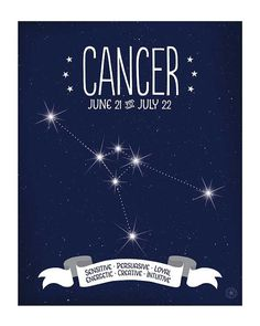 Cancer Zodiac Print Zodiac Constellation by AnneGarrisonStudio