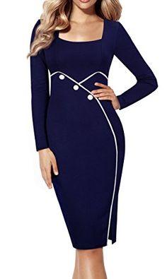 HOMEYEE Women's Chic Long Sleeve Wear to Work Pencil Sheath Party Dress B353 (6, Dark Blue)