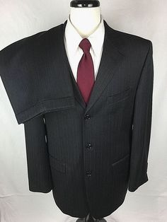 JONES NEW YORK Suit Mens 42 Black WOOL 3 Button Blazer Jacket Pants 42R #JonesNewYork #ThreeButton