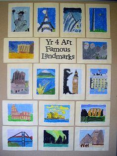 famous places art lesson @Nichole Radman Radman Radman Luckie can we do this, please? I'll help!!!