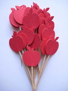 24 Red Apple Party Picks  Cupcake Toppers  by ThePrettyPaperShop, $3.99