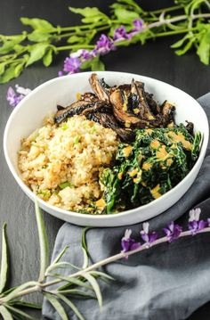 This Roasted Mushrooms + Creamy Kale + Cauliflower Rice Bowl couldn't be more satisfying, nutritious and delicious. Every bite is exploding with flavor!