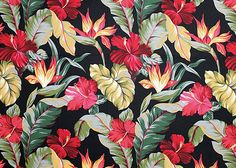 10pauhana Tropical Hawaiian Bird of Paradise and Hibiscus flowers - cotton barkcloth fabric, Hawaiian vintage style fabric.