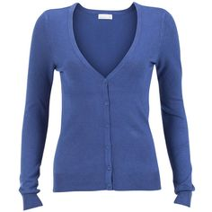 Vero Moda Cardigan Glory Blue ($15) ❤ liked on Polyvore featuring tops, cardigans, sweaters, outerwear, shirts, blue, v-neck tops, blue button shirt, blue top and v neck shirts