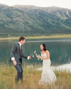 An Elevated Countryside Wedding in Wyoming Cute Couple Poses, Couple Posing, Lake Wedding Venues, Teton Mountains, Jackson Hole Wyoming, Navy Bridesmaid Dresses, Groom And Groomsmen Attire, Bride And Groom Pictures, Countryside Wedding