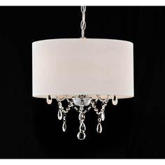 Indoor 3-light White/ Chrome Pendant Chandelier   Overstock.com Shopping - The Best Deals on Chandeliers & Pendants