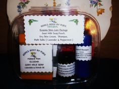 Handmade Natural Pure Scen Eczema Skin Care Pkg. Soap, cream, shampoo,Bath Salts