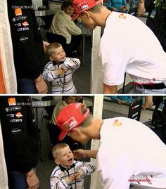 Schumacher the 7 time world champion and Max Verstappen when his father was team mate of Schumacher.