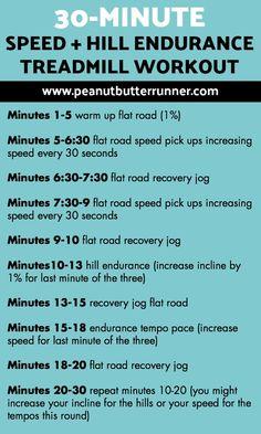 A treadmill workout focusing on longer hill and speed intervals. Running Workouts, Running Tips, Fun Workouts, Running Club, Running Humor, Workout Routines, Workout Ideas, 30 Minute Treadmill Workout, Weekend Workout
