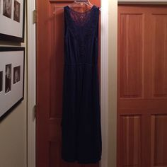 NWT Francesca's High-Low Dress Navy blue with gorgeous lace back. Francesca's Collections Dresses High Low