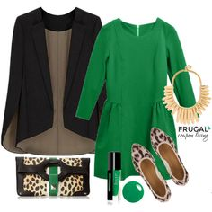Frugal Fashion Friday Green Fall Outfit with Black Cape Blazer as the Frugal Coupon Living Outfit of the Day. This Fall Inspired Outfit shows off perfectly how to style a cape. Try a Green Outfit this Autumn!