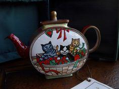 Kelvin Chen Cats in Basket Teapot Mini Handpainted Enamel on Copper Retired | eBay