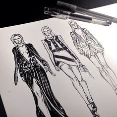 Working in progress illustration for Elie Saab's S/S 2017 collection