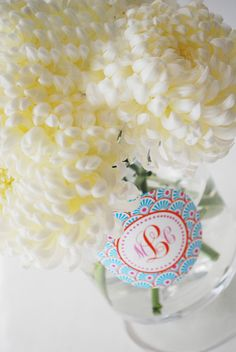 Centerpiece Clings are a new product from Cake Plate Clings  WH Hostess - offering hostesses a unique way to dress up a basic vase with a personalized, non-adhesive design.  Options are available for all of the kids party themes, baby showers and an assortment of monograms.  #cakeplateclings #centerpiececlings #whhostess #partydecoration #centerpiece #kidsparties #babyshower #monogram