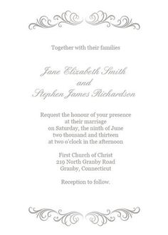 Download the silver flourish wedding invitation template here. Source: Printable Invitation Kits