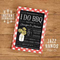 Printable I Do BBQ Couples Shower Invitation by JazzHandsPaperCo
