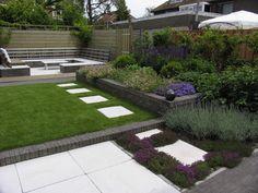Love the pavers and how the space is divided Contemporary Garden Design, Small Garden Design, Small Space Gardening, Landscape Design, Small Back Gardens, Narrow Garden, Home Landscaping, Dream Garden, Garden Planning
