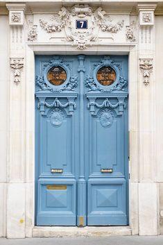 Light Blue Door No. Cool Doors, The Doors, Unique Doors, Entrance Doors, Windows And Doors, Doorway, French Home Decor, Paris Photography, Blue Aesthetic