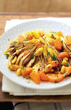 Tajine de raie aux amandes, carottes et safran