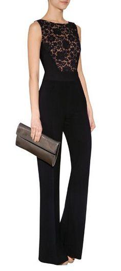 Designer fashion | Black lace Elie Saab jumpsuit
