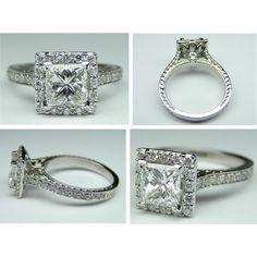 Princess Diamond Halo Engagement Ring Vintage floral gallery