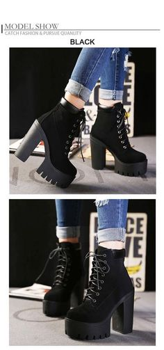 69bfe5ddd22 Gdgydh Fashion Spring Autumn Platform Ankle Boots Women Lace Up Thick Heel  Platform Boots Ladies Worker Boots Black Big Size 42