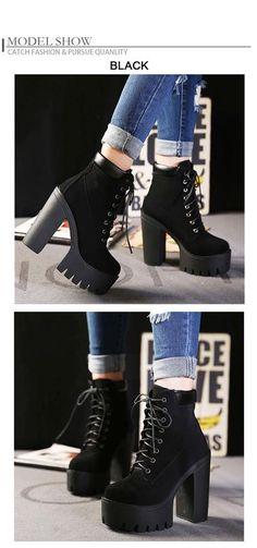 3d99b78b386f85 Gdgydh Fashion Spring Autumn Platform Ankle Boots Women Lace Up Thick Heel  Platform Boots Ladies Worker Boots Black Big Size 42