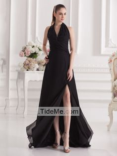 V Neck Halter Split Skirt Backless Sweep Train Black Chiffon Gorgeous Cheap Prom Dress Evening Dress Bridesmaid Dress