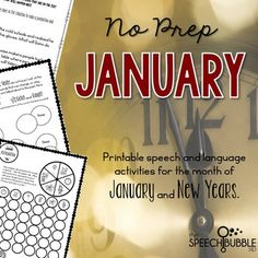 Want to use engaged, seasonal materials but no time to prep?  Let this packet make planning sessions for the New Year easy! This packet has 40+ pages of January/winter and New Year themed activities to help save you time and bring some themed fun into your room.4-5: Winter and New Year themed board games for reinforcement.6-7: New Years themed Do-A-Dot pages.8: Winter/New Year  themed articulation sheet.9-10: Following directions.11-12: Basic Concepts.13-14: Categories.15-17…