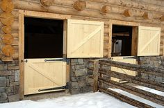 Love these horse barn doors...would change out the black hinges to something a little less noticeable