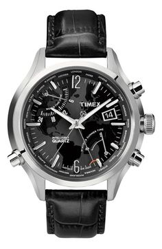 Timex® 'Intelligent Quartz' World Time Leather Strap Watch available at #Nordstrom