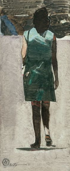Luc Tuymans (Belgian, b. 1958), Woman walking, view from the back. Oil on paper, 47.5 x 18.8 cm.via amare-habeo
