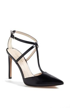 Nine West 'Tixilated' Pump. A delicate gilt buckle polishes a refined T-strap pump with an exquisite pointy toe and a tall, slim heel. These will look great with all of my full skirts.