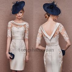 2016 Cocktail Dresses Open Back with Sleeves Champagne Lace Satin Mini Sheath Jewel Neck Mother of the Bride Dress Short Party Evening Gowns Half Sleeve Dresses, Mob Dresses, Knee Length Dresses, Trendy Dresses, Nice Dresses, Short Dresses, Formal Dresses, Wedding Dresses, Wedding Veil