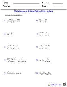 Simplifying Rational Expressions Worksheets   Math-Aids.Com ...