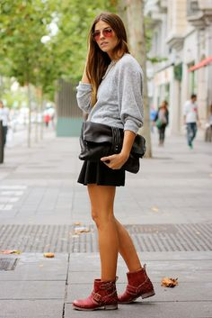 Student Inspired Look : Skirt + Oversized Sweater + Red Booties + Big Envelope