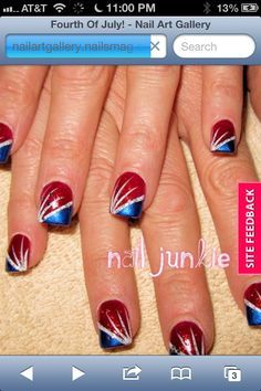 french manicure with a twist slanted red and blue stripe