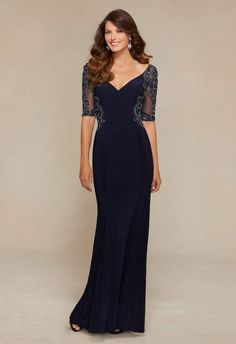 Beading On Jersey And Net Mother Of Bride Dress