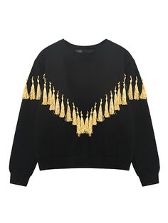 Black Tassels Sweatshirt | Choies
