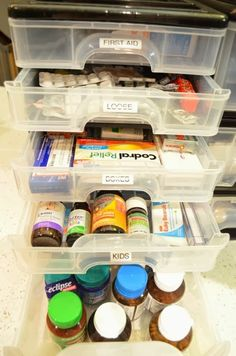 A house full of sunshine: Conquering medicine clutter. now to find a container like this in Honduras Medicine Storage, Medicine Organization, Organization Station, Home Organisation, Bathroom Organization, Storage Organization, Organize Medicine, Storage Ideas, Organizing Tips
