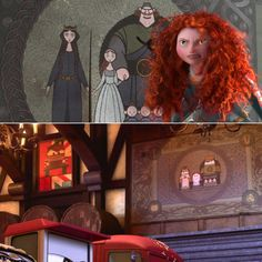 A Closer Look at Pixar's Many Easter Eggs - An all-cars version of the tapestry Merida slashes in Brave could be seen during the London chase scene in Cars 2 a year before Brave hit theaters. Easter eggs A Closer Look at Pixar's Many Easter Eggs Funny Disney Pictures, Funny Disney Jokes, Disney Memes, Easter Eggs In Movies, Disney Easter Eggs, Arte Disney, Disney Fan Art, Hidden Disney Characters, Disney Secrets In Movies