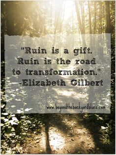 """Ruin is a gift. Ruin is the road to transformation."" -Elizabeth Gilbert #quotes"