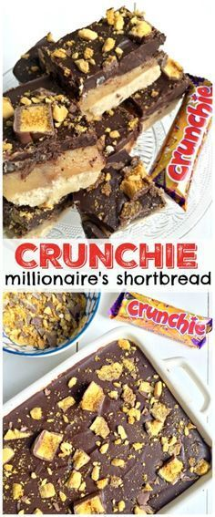 With a moreish shortbcake layer on the base, paired with homemade caramel, and topped with a thick layer of chocolate - Crunchie Millionaire's Shortbread! Yummy Treats, Sweet Treats, Yummy Food, Delicious Desserts, Baking Recipes, Dessert Recipes, Tray Bake Recipes, Oreo Dessert, Party Recipes