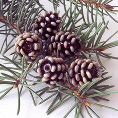 *Beautiful, lifelike lampwork pinecone. Excellent for earrings and necklace. Not for bracelets, its too fragile.  *You will receive 1 bead 15x16