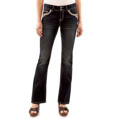 Juniors' Wallflower Luscious Curvy Dark Wash Bootcut Jeans, Teens, Size: 17, Light Blue