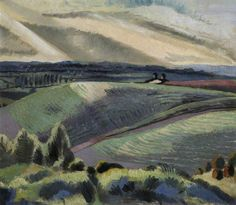 """Cotswold Hills -Your Paintings - Paul Nash paintings. This sums up the atmosphere of a landscape better for me than a more """"realistic"""" painting. Abstract Landscape, Landscape Paintings, Landscape Drawings, Abstract Painters, Time Painting, Art Uk, Magritte, Max Ernst, Your Paintings"""