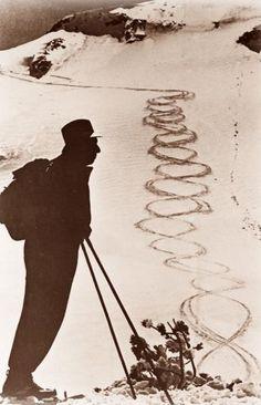 """St. Anton: Hannes Schneider (1890 - 1955) berühmter Skifahrer und Schauspieler, spielte u.a. in dem Film """" Der Weiße Rausch"""""""